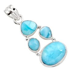 13.63cts natural blue larimar 925 sterling silver pendant jewelry r11799