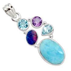 925 silver 15.47cts natural blue larimar doublet opal australian pendant r11800