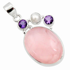 18.15cts natural pink rose quartz amethyst 925 sterling silver pendant r11801