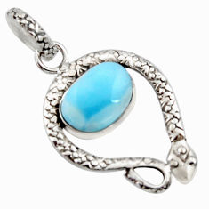 5.53cts natural blue larimar 925 sterling silver snake pendant jewelry r11802