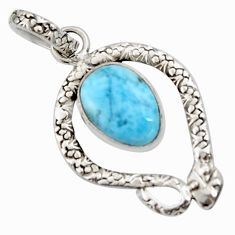 925 sterling silver 5.54cts natural blue larimar snake pendant jewelry r11804