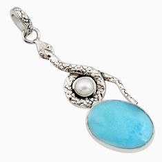 15.53cts natural blue larimar pearl 925 sterling silver snake pendant r11807