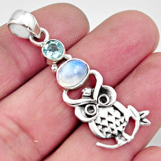 2.81cts natural rainbow moonstone topaz 925 sterling silver owl pendant r11822