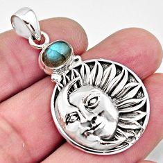 925 silver 2.31cts natural blue labradorite crescent moon star pendant r11830