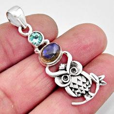 2.97cts natural blue labradorite topaz 925 sterling silver owl pendant r11831