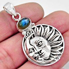 2.29cts natural blue labradorite 925 silver crescent moon star pendant r11838