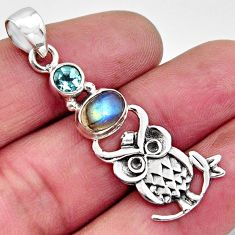2.97cts natural blue labradorite topaz 925 sterling silver owl pendant r11839