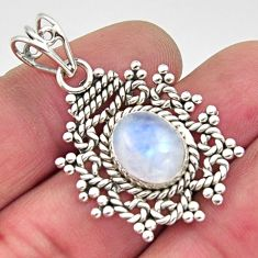 4.93cts natural rainbow moonstone 925 sterling silver pendant jewelry r11842