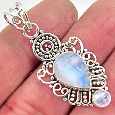 6.05cts natural rainbow moonstone 925 sterling silver pendant jewelry r11844