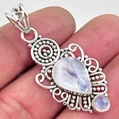 6.36cts natural rainbow moonstone 925 sterling silver pendant jewelry r11854