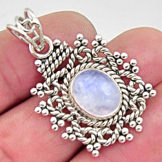 5.06cts natural rainbow moonstone 925 sterling silver pendant jewelry r11858