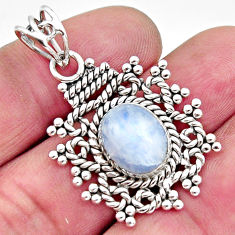 5.06cts natural rainbow moonstone 925 sterling silver pendant jewelry r11862