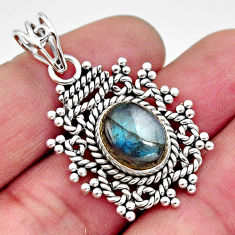 925 sterling silver 4.82cts natural blue labradorite oval pendant jewelry r11875