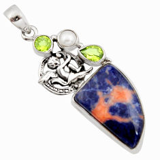 19.48cts natural orange sodalite 925 silver angel wings fairy pendant r11883