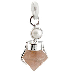925 sterling silver 10.62cts natural pink beta quartz white pearl pendant r12397