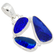 12.52cts natural blue doublet opal australian 925 sterling silver pendant r12605
