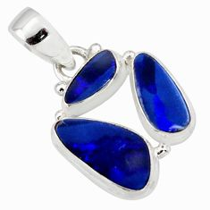 10.02cts natural blue doublet opal australian 925 sterling silver pendant r12606