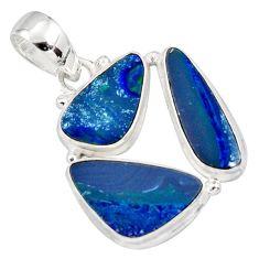 925 silver 12.36cts natural blue doublet opal australian fancy pendant r12608