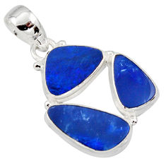 12.07cts natural blue doublet opal australian 925 sterling silver pendant r12609