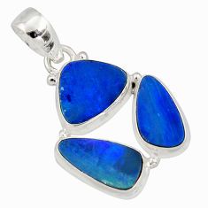 12.91cts natural blue doublet opal australian 925 sterling silver pendant r12612