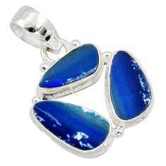 925 sterling silver 11.23cts natural blue doublet opal australian pendant r12615