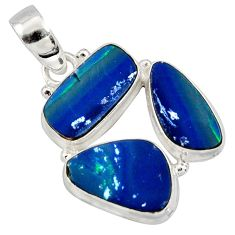 12.83cts natural blue doublet opal australian 925 sterling silver pendant r12620