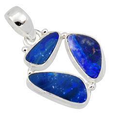 925 silver 10.78cts natural blue doublet opal australian fancy pendant r12664