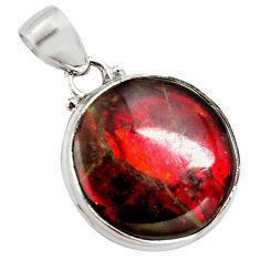 14.68cts natural multi color ammolite (canadian) 925 silver pendant r12742