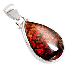 13.15cts natural multi color ammolite (canadian) 925 silver pendant r12747