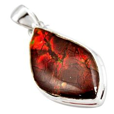 925 silver 17.22cts natural multi color ammolite (canadian) pendant r12759