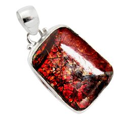 18.68cts natural multi color ammolite (canadian) 925 silver pendant r12770