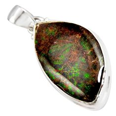 18.68cts natural multi color ammolite (canadian) fancy 925 silver pendant r12777
