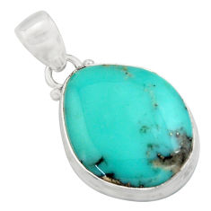 925 silver 14.23cts natural green campitos turquoise fancy pendant r12810