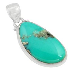 925 sterling silver 14.72cts natural green campitos turquoise pendant r12814