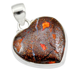 17.22cts natural brown boulder opal 925 sterling silver heart pendant r12821
