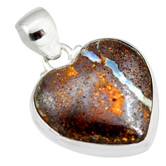 15.58cts natural brown boulder opal 925 sterling silver heart pendant r12823