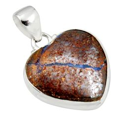 925 sterling silver 16.73cts natural brown boulder opal heart pendant r12824