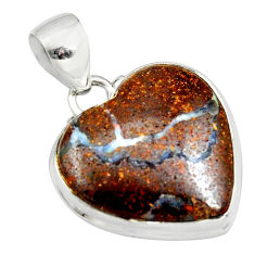 16.68cts natural brown boulder opal 925 sterling silver heart pendant r12826