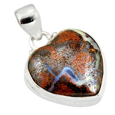 15.65cts natural brown boulder opal 925 sterling silver heart pendant r12827