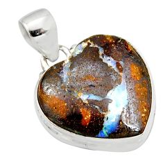 16.20cts natural brown boulder opal 925 sterling silver heart pendant r12829