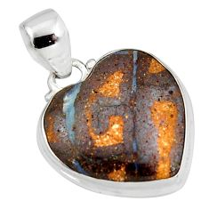 14.72cts natural brown boulder opal 925 sterling silver heart pendant r12831