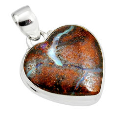 16.18cts natural brown boulder opal 925 sterling silver heart pendant r12838