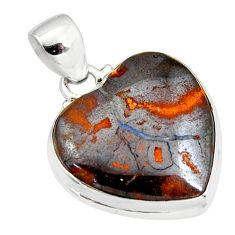 18.15cts natural brown boulder opal 925 sterling silver heart pendant r12839