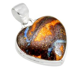 925 sterling silver 17.22cts natural brown boulder opal heart pendant r12840