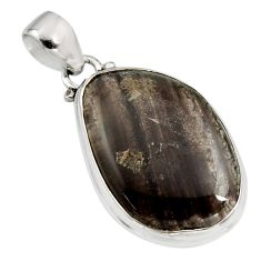 925 sterling silver 17.22cts natural brown agni manitite fancy pendant r12850