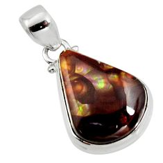 13.66cts natural multi color mexican fire agate 925 silver pendant r12878