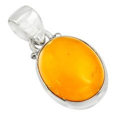 8.70cts natural yellow amber bone 925 sterling silver pendant jewelry r12881