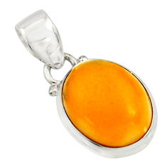925 sterling silver 8.35cts natural yellow amber bone oval pendant r12884