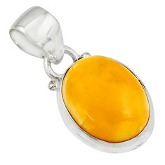 6.68cts natural yellow amber bone 925 sterling silver pendant jewelry r12889