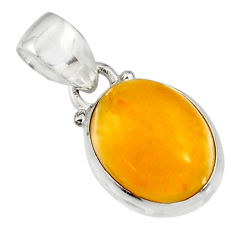 6.68cts natural yellow amber bone 925 sterling silver pendant jewelry r12890